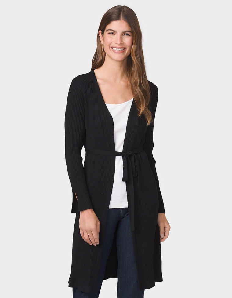 Black Belted Duster Cardigan