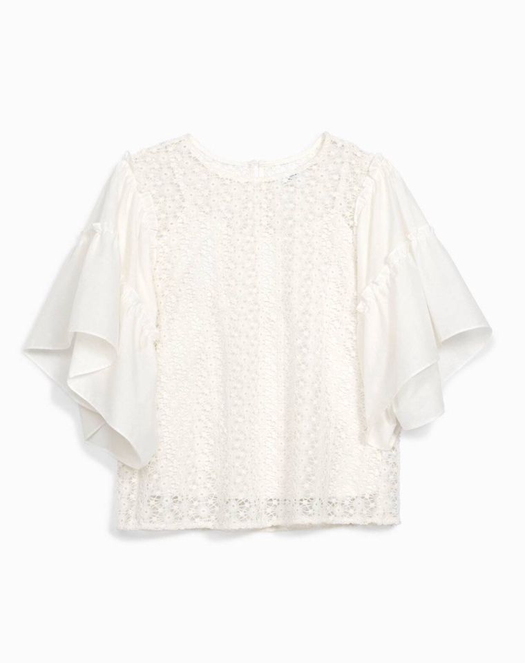 The perfect lightweight airy cotton lace white top for summer 2018 Women's Fashion