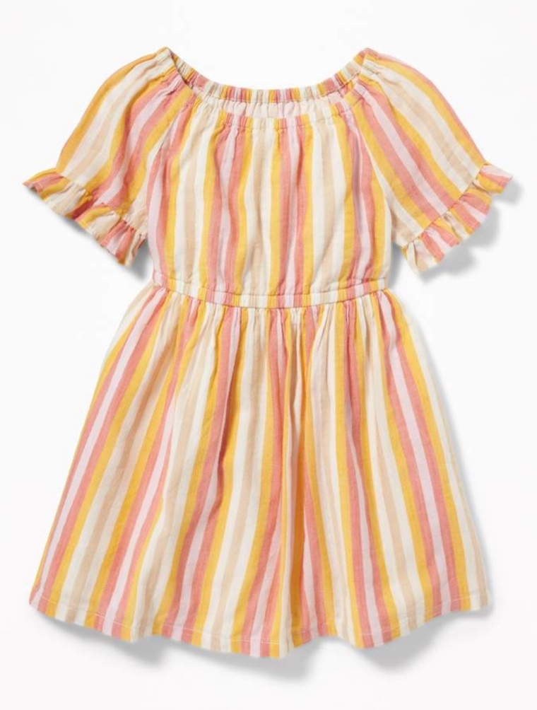 Striped Ruffle-Trim Dress For Toddler Girls