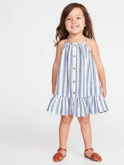 Patterned Button-Front Tiered Hem Sundress for Toddler Girls