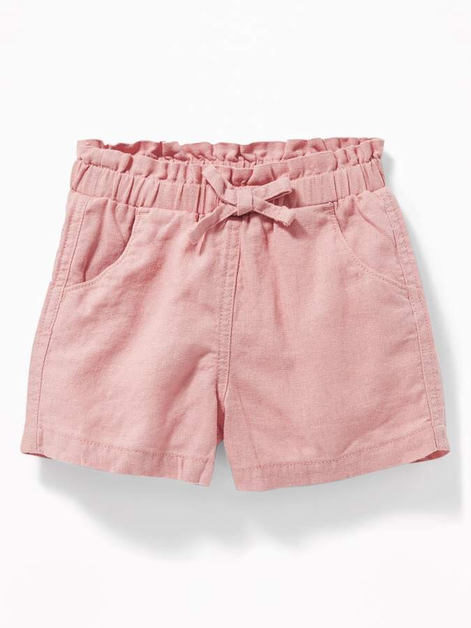 Linen-Blend Paperbag-Waist Shorts for Toddler Girls