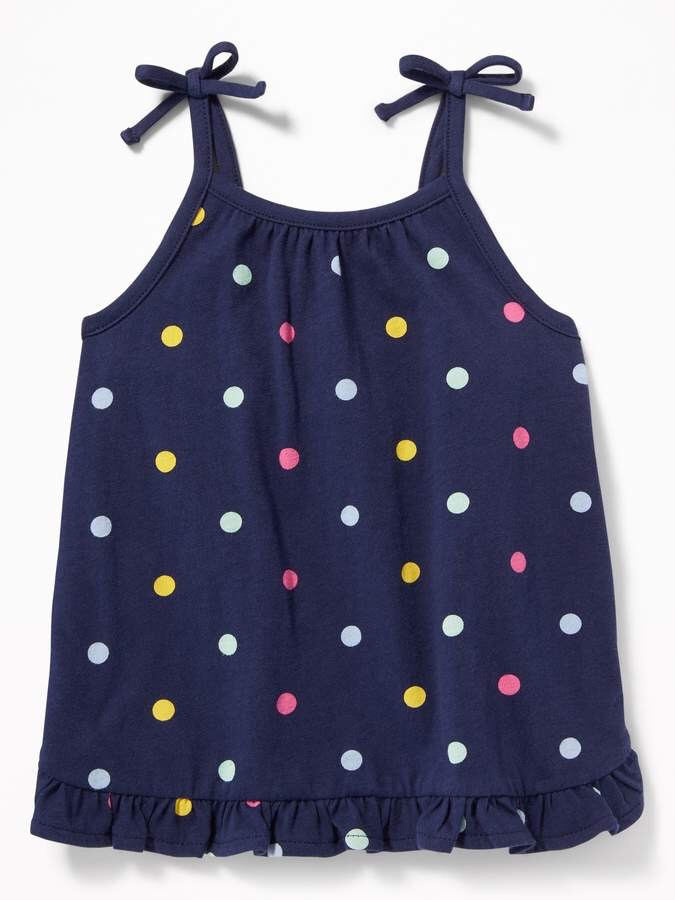 Polka Dot Ruffle-Hem Jersey Summer Tank for Toddler Girls