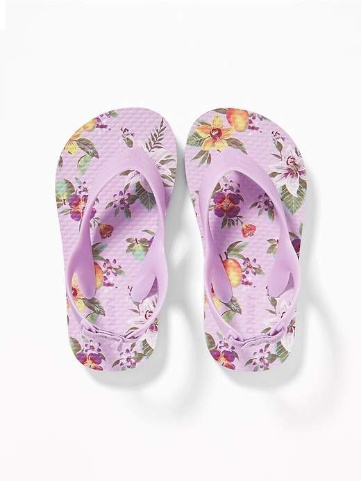 Adorable Floral Printed Summer Flip Flops for Toddler Girls