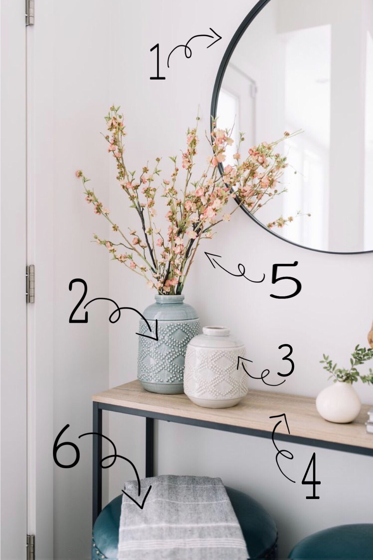 Elegant Rustic Farmhouse Entryway Look for Less | Shop The Look | Large round mirror summer home style 2019