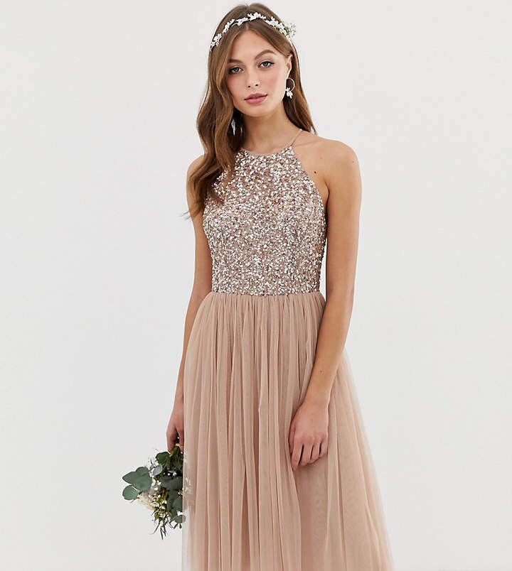Bridesmaid Halter Neck Midi Tulle Dress with Tonal Delicate Sequins in Taupe Blush
