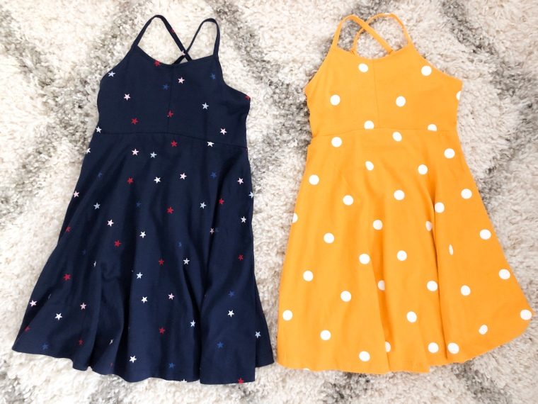 Printed Jersey Fit & Flare Cami Dress for girls, Toddler Fashion, Girls Fashion Summer Dresses, Printed Polka Dot Dress, 4th of July Stars Dress, Red White and Blue, Patriotic Dresses for Kids