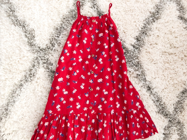 printed watermelon and red floral button front tiered dress for Toddler Girls summer 2019 Toddler fashion