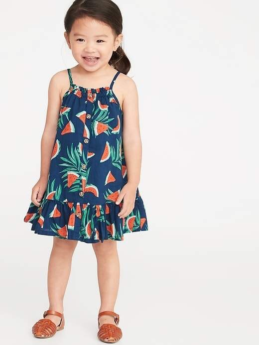 Printed Watermelon Button-Front Tiered Dress for Toddler Girls 2019 Summer Fashion