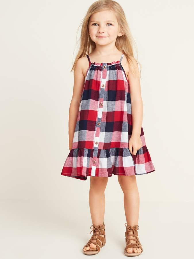 Patterned Button-Front Tiered-Hem Sundress for Toddler Girls Summer 2019 Fashion