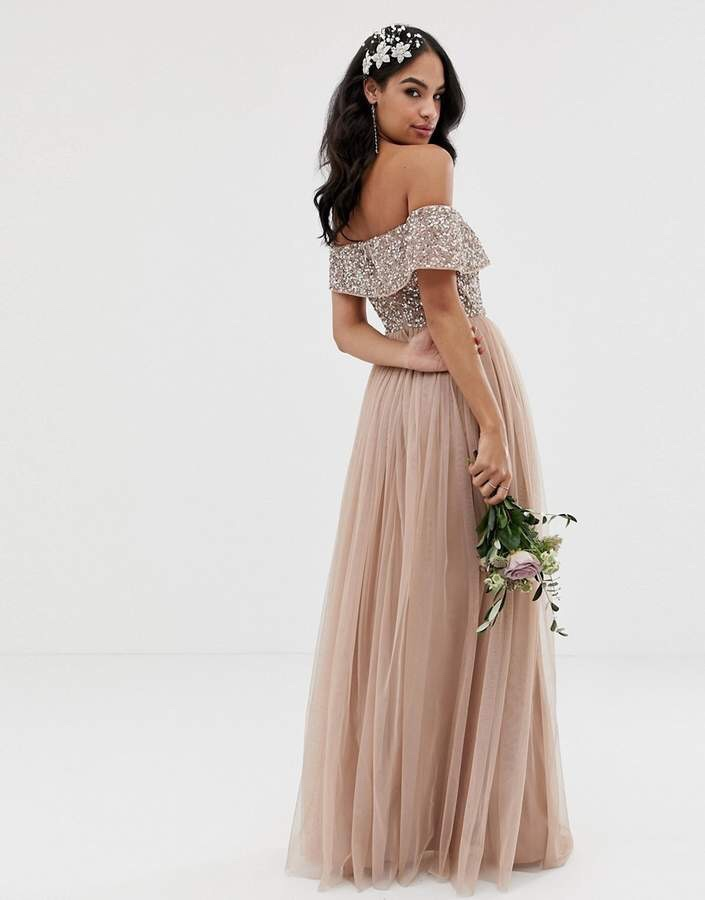 Maya Bridesmaid Bardot Maxi Tulle Dress with tonal delicate gold sequins in taupe blush 2019 wedding fashion style