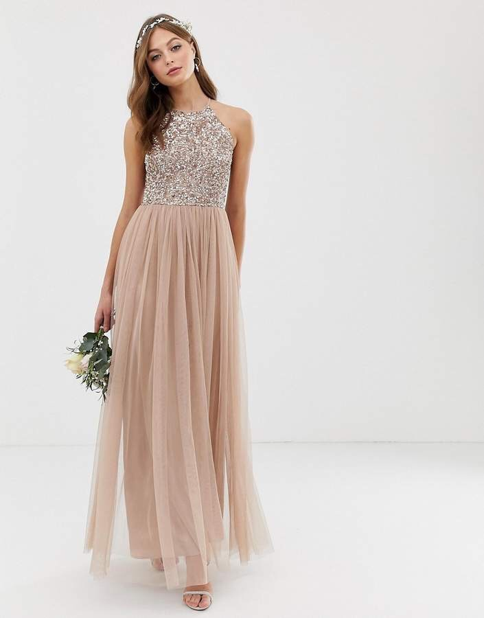 Maya Bridesmaid Halter Neck Maxi Tulle Dress with Tonal Delicate Sequins in Taupe Gold Blush