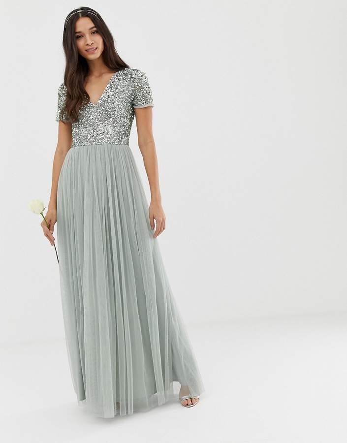 Bridesmaid v Neck Maxi Tulle Dress with tonal delicate sequins in Green Lily 2019 wedding fashion style