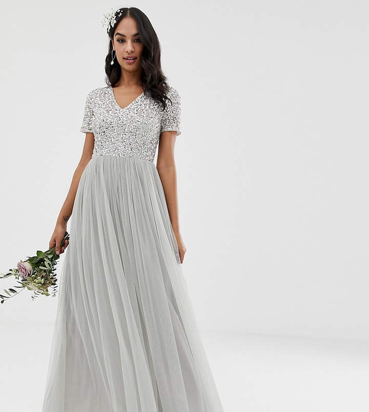 Bridesmaid v Neck Maxi Tulle Dress with tonal delicate sequins in Soft Gray Silver 2019 Summer Wedding Fashion Style